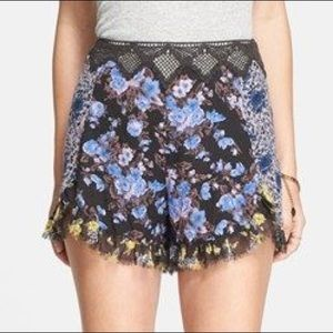Free People Floral Lace Shorts